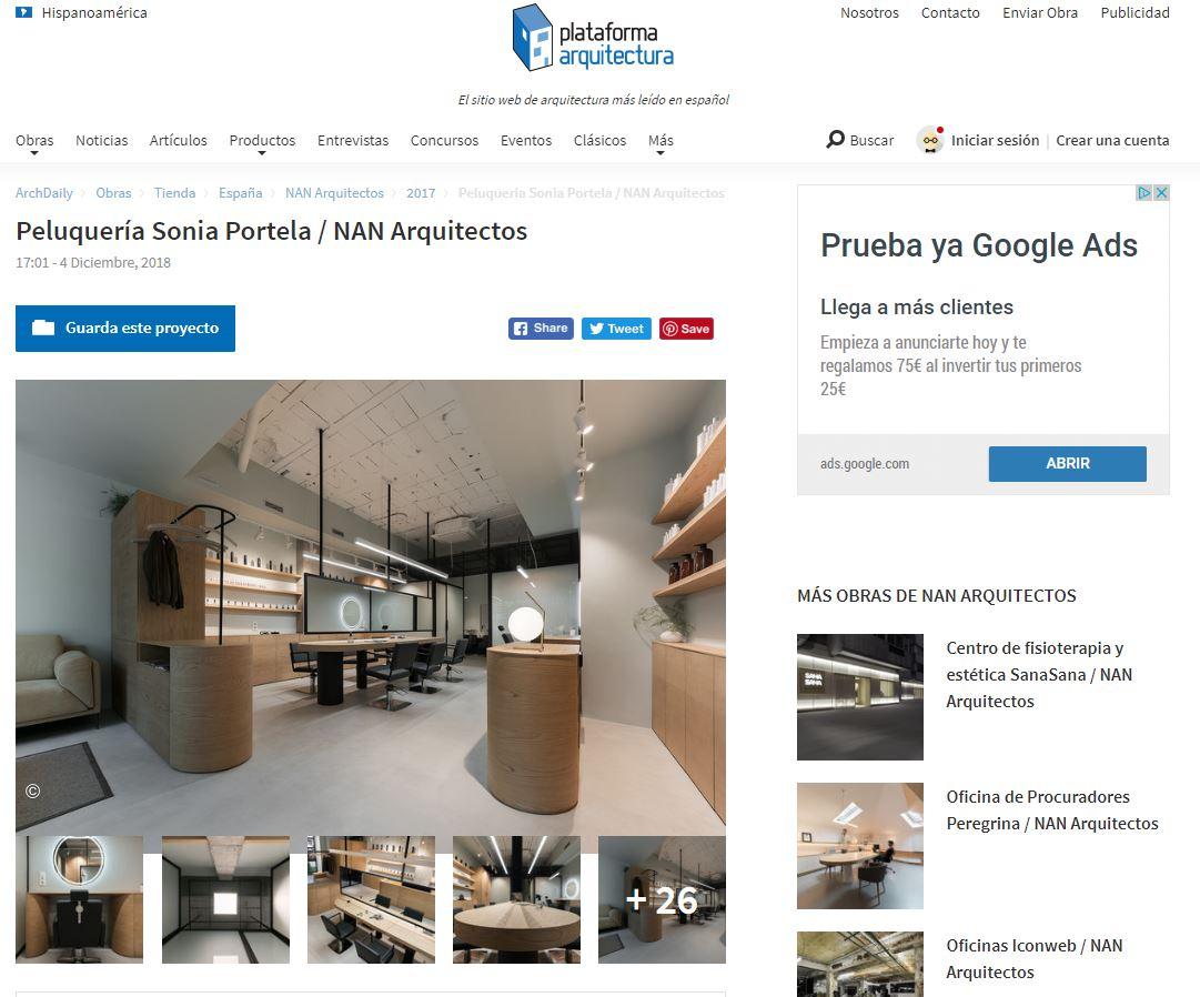 plataforma arquitectura peluquería nan arquitectos proyecto
